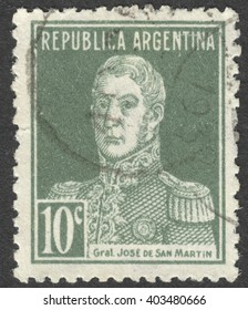 "MOSCOW, RUSSIA - CIRCA APRIL, 2016: a post stamp printed in ARGENTINA shows a portrait of General San Martin, the series ""General San Martin"", circa 1920-1930s"