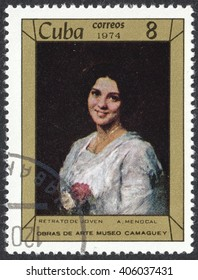 """MOSCOW, RUSSIA - CIRCA APRIL, 2016: a post stamp printed in CUBA shows a painting """"Portrait of a young girl"""" by A. Menocal, the series """"Paintings in Camaguey Museum"""", circa 1974"""