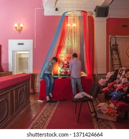 MOSCOW, RUSSIA - CIRCA APRIL, 2019: Sindhi Cheti Chand Mela, happy holiday. Preparation for the fest, picture of Ishta Dev Jhulelal. Novosuschevsky lane, 6, DK MIIT, interior.