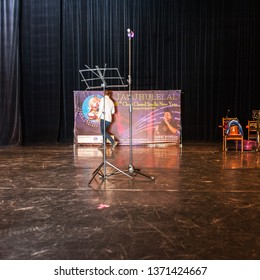 MOSCOW, RUSSIA - CIRCA APRIL, 2019: Sindhi Cheti Chand Mela, happy holiday. Preparation for the fest, poster with Ishta Dev Jhulelal on the stage. Novosuschevsky lane, 6, DK MIIT, interior.