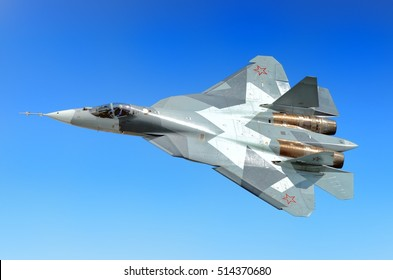 MOSCOW, RUSSIA - CIRCA AUGUST, 2011: Russian Air Force twin engine Sukhoi T-50 PAK FA 5th generation stealth fighter bomber war plane flying aerial detail exterior top down view