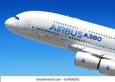 MOSCOW, RUSSIA - CIRCA AUGUST, 2011: Airbus Industries EADS Airbus A380 super jumbo large wide body passenger airplane flying detail aerial exterior close up crop view
