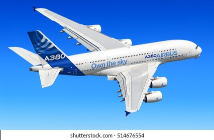 MOSCOW, RUSSIA - CIRCA AUGUST, 2013: Airbus Industries EADS Airbus A380 super jumbo large wide body passenger airplane flying detail aerial exterior view