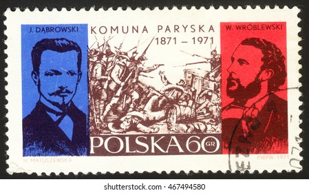 MOSCOW, RUSSIA - CIRCA AUGUST, 2016: a stamp printed in POLAND shows Fighting in Pouilly Casle, Jaroslaw Dabrowski and Walery Wro, dedicated to the centenary of the Paris Commune, circa 1971.