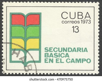 MOSCOW, RUSSIA - CIRCA AUGUST, 2016: a stamp printed in CUBA, dedicated to Educational Development, circa 1973