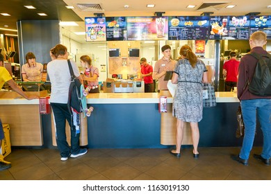 MOSCOW, RUSSIA - CIRCA AUGUST, 2018: counter service in McDonald's restaurant.