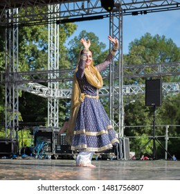MOSCOW, RUSSIA - CIRCA AUGUST, 2019: India Day. Open festive dance performance. Kathak dance. Open stage, Festival Square of Sokolniki park.