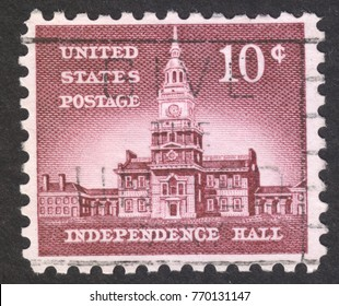 MOSCOW RUSSIA - CIRCA DECEMBER 2017: a post stamp printed in the USA shows the Independence Hall, circa 1956