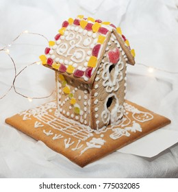 MOSCOW, RUSSIA - CIRCA DECEMBER, 2017: School Christmas Fair. Gingerbread in the form of a house made by students and parents for a charity auction.