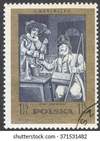 """MOSCOW, RUSSIA - CIRCA FEBRUARY, 2016: a post stamp printed in POLAND shows scene from """"Ideal"""" light opera by S.Moniuszko, the series """"The 100th Anniversary of the death of S. Moniuszko"""", circa 1972"""
