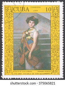 """MOSCOW, RUSSIA - CIRCA FEBRUARY, 2016: stamp printed in CUBA shows """"Portrait of E.Herrera"""" by A.Menocal, the series """"The 170th Anniversary of The San Alejandro Arts School, Havana"""", circa 1988"""