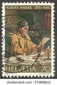 """MOSCOW, RUSSIA - CIRCA FEBRUARY, 2017: a post stamp printed in SWITZERLAND shows a painting """"The municipal clerk"""" by Albert Anker (1831-1900), circa 1981"""