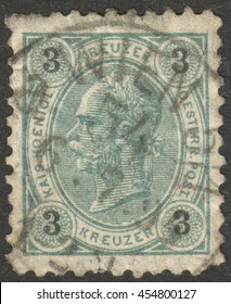"""MOSCOW, RUSSIA - CIRCA JULY, 2016: a stamp printed in AUSTRIA shows a portrait of Emperor Franz Josef I, the series """"Emperor Franz Josef I"""", circa 1890 -1896"""