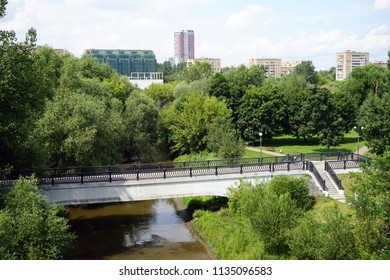 MOSCOW, RUSSIA - CIRCA JULY 2018 Bridge and Yauza river