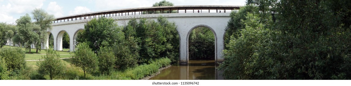 MOSCOW, RUSSIA - CIRCA JULY 2018 Panorama of Rostokinsky aqueduct