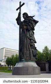 MOSCOW, RUSSIA - CIRCA JULY 2018  Saint Vladimir monument