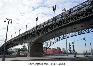 MOSCOW, RUSSIA - CIRCA JULY 2018  Bridge near Crist the Savior Cathedral