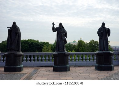 MOSCOW, RUSSIA - CIRCA JULY 2018 Sculptures near Crist the Savior Cathedral