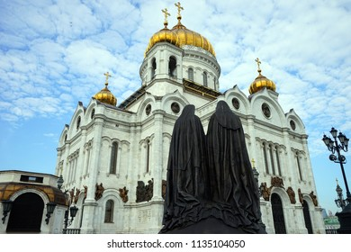 MOSCOW, RUSSIA - CIRCA JULY 2018  Sculpture andr Crist the Savior Cathedral