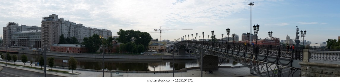 MOSCOW, RUSSIA - CIRCA JULY 2018 Moscow river and bBridge near Crist the Savior Cathedral