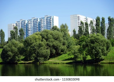 MOSCOW, RUSSIA - CIRCA JULY 2018 Ochakovsky pond and apartment buildings