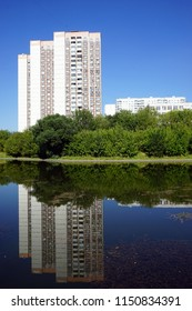 MOSCOW, RUSSIA - CIRCA JULY 2018 Ochakovka river and apartment buildings