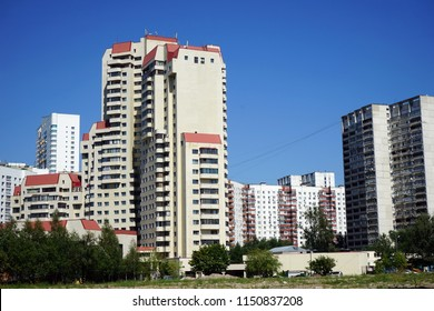 MOSCOW, RUSSIA - CIRCA JULY 2018 Apartment buildings near Leninsky Prospect avenue