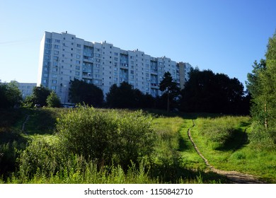 MOSCOW, RUSSIA - CIRCA JULY 2018 Apartment buildings near Bitsevsky park