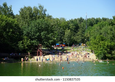 MOSCOW, RUSSIA - CIRCA JULY 2018Beach on the lake in Troparevo park