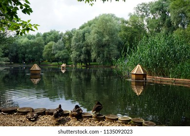 MOSCOW, RUSSIA - CIRCA JULY 2018L Leontyevsky pond in the park