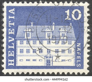 MOSCOW, RUSSIA - CIRCA JUNE, 2016: a post stamp printed in SWITZERLAND shows Freuler Mansion, Nafels, circa 1968
