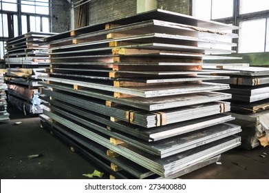 MOSCOW, RUSSIA - CIRCA MAY, 2011: Stacked aluminum sheets in russian smelting plant Alfa-Metal, based in Moscow, Russia