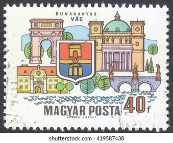 "MOSCOW, RUSSIA - CIRCA MAY, 2016: a post stamp printed in HUNGARY shows coat of arms and buildings of VAC, the series ""Towns of the Dunakanyar"", circa 1969"