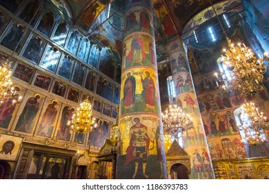 MOSCOW, RUSSIA - CIRCA MAY 2018: Cathedral of the Dormition (Uspensky Sobor) or Assumption Cathedral of Moscow Kremlin interior
