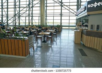 MOSCOW, RUSSIA - CIRCA MAY, 2018: interior shot of Vnukovo International Airport.