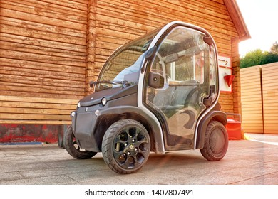 MOSCOW, RUSSIA - CIRCA MAY 2019: Estrima Biro modern 2 seats personal electric car city street view of Italian innovative design compact size vehicle for city travel green eco transportation concept