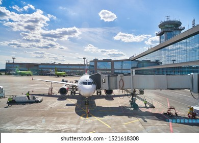 MOSCOW, RUSSIA - CIRCA MAY, 2019: an aircraft operated by Aeroflot at Sheremetyevo International Airport apron