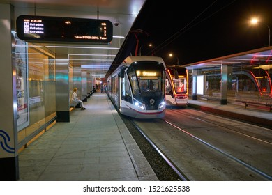 MOSCOW, RUSSIA - CIRCA MAY, 2019: a tramway seen in Moscow in the nighttime