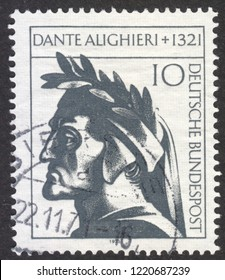 MOSCOW RUSSIA - CIRCA NOVEMBER 2018: a post stamp printed in GERMANY shows Dante Alighieri, circa 1971