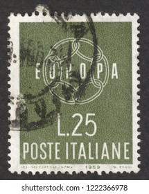 "MOSCOW RUSSIA - CIRCA NOVEMBER 2018: a post stamp printed in ITALY, the series ""Europa (C.E.P.T.) 1959 - Chain"", circa 1959"