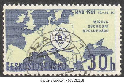 """MOSCOW, RUSSIA - CIRCA OCTOBER, 2016: a stamp printed in CZECHOSLOVAKIA shows the Map of Europe and Fair Emblem, the series """"International Trade Fair, Brno"""", circa 1961"""