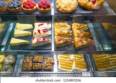 MOSCOW, RUSSIA - CIRCA OCTOBER, 2018: desserts on display at a Starbucks coffee shop in Moscow.