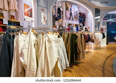 MOSCOW, RUSSIA - CIRCA SEPTEMBER, 2018: interior shot of Uniqlo store in Moscow. Uniqlo Co. Ltd is a Japanese casual wear designer, manufacturer and retailer