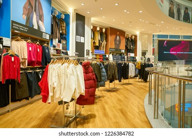 MOSCOW, RUSSIA - CIRCA SEPTEMBER, 2018: clothing on display at Uniqlo store in Moscow. Uniqlo Co. Ltd is a Japanese casual wear designer, manufacturer and retailer