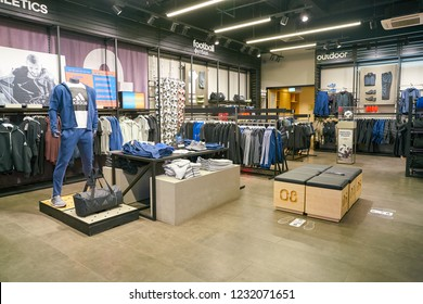 MOSCOW, RUSSIA - CIRCA SEPTEMBER, 2018: interior shot of Adidas store in Moscow.