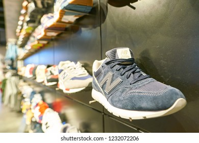 MOSCOW, RUSSIA - CIRCA SEPTEMBER, 2018: footwear on display at New Balance store in Moscow. New Balance Athletics is an American multinational corporation.