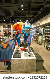 MOSCOW, RUSSIA - CIRCA SEPTEMBER, 2018: interior shot of New Balance store in Moscow. New Balance Athletics is an American multinational corporation.
