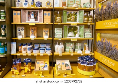 MOSCOW, RUSSIA - CIRCA SEPTEMBER, 2018: interior shot of a L'Occitane store in Moscow. L'Occitane en Provence is an international retailer of body, face, fragrances and home products