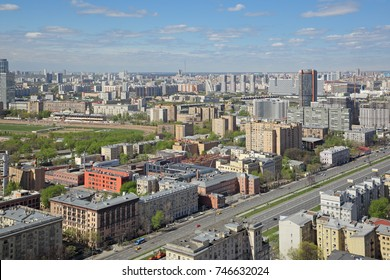 Moscow, Russia. The cityscape, top view of the Leningradsky Prospekt (Leningrad Avenue)