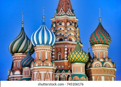 MOSCOW, RUSSIA - Colorful Cupolas of St. Basil's Cathedral at Twilight. The church was built on the Red Square in middle of 16th century. It is one of the seven wonders in the world.